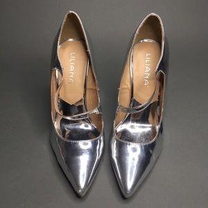 Lliana Pointed Toe Silver Metallic Wedged Heels 10